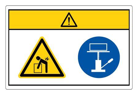 Caution Lift Hazard Use Mechanical Lift Symbol Sign, Vector Illustration, Isolate On White Background Label. EPS10