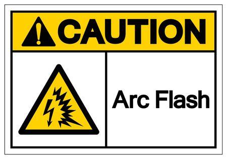 Warnlichtbogen-Blitz-Symbol-Zeichen, Vektor-Illustration, auf weißem Hintergrund-Etikett isolieren