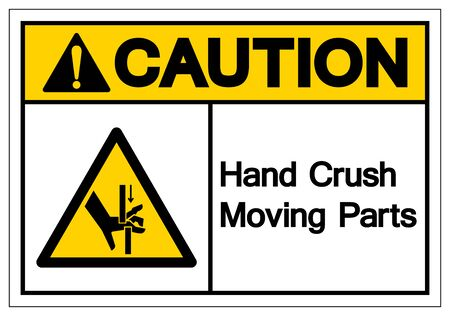 Caution Hand Crush Moving Parts Symbol Sign, Vector Illustration, Isolate On White Background Label