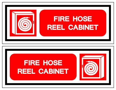 Fire Hose Reel Cabinet Symbol Sign, Vector Illustration, Isolate On White Background Label