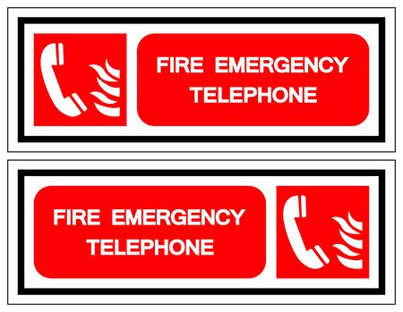 Fire Emergency Telephone Symbol Sign, Vector Illustration, Isolate On White Background Label
