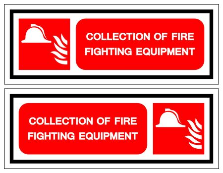 Collection Of Fire Fighting Equipment Symbol Sign, Vector Illustration, Isolate On White Background Label Illustration