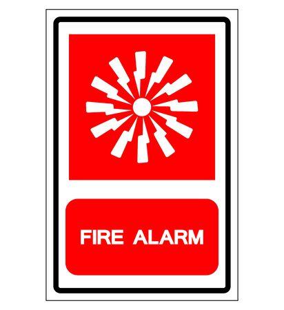 Signo de símbolo de alarma de incendio, ilustración vectorial, aislar en etiqueta de fondo blanco. EPS10