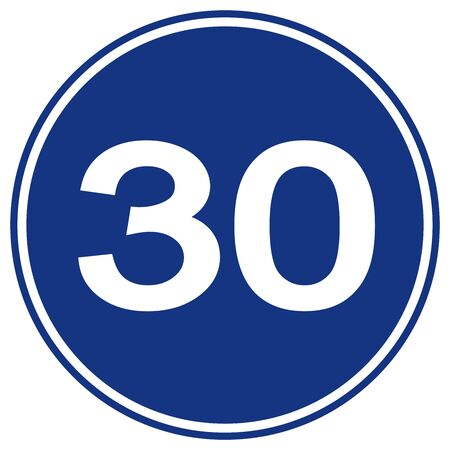 Speed Limit 30 Traffic Sign,Vector Illustration, Isolate On White Background Label. Иллюстрация