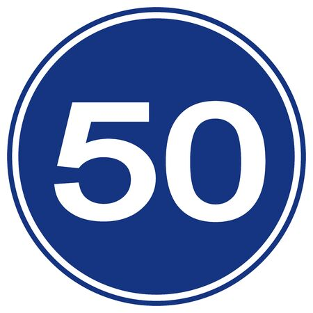 Speed Limit 50 Traffic Sign, Vector Illustration, Isolate On White Background Label.