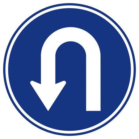 Panneau de signalisation de circulation à gauche en demi-tour, illustration vectorielle, isoler sur l'étiquette de fond blanc.
