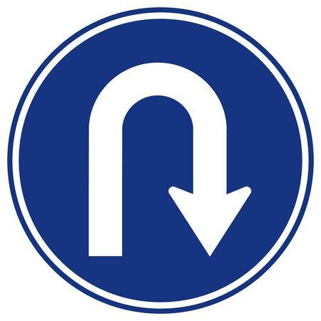 Señal de carretera de tráfico a la derecha de giro en U, ilustración vectorial, aislar en etiqueta de fondo blanco. EPS10