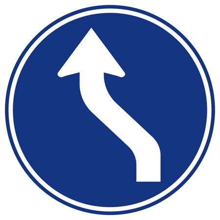 Curved Left Traffic Road Sign,Vector Illustration, Isolate On White Background Symbols, Label. Stock Illustratie