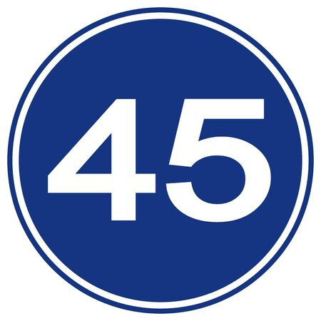 Speed Limit 45 Traffic Sign,Vector Illustration, Isolate On White Background Label.