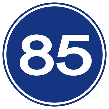 Speed Limit 85 Traffic Sign,Vector Illustration, Isolate On White Background Label.