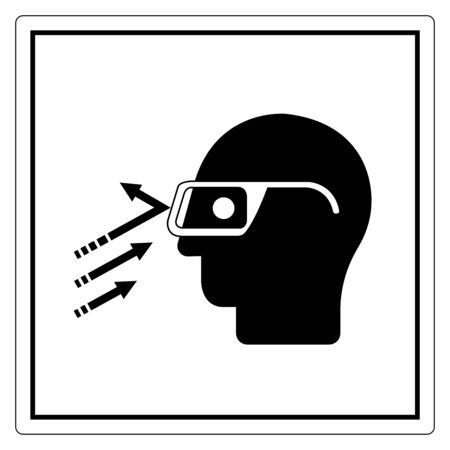 Flying Debris Wear Safety Glasses Symbol Sign, Vector Illustration, Isolate On White Background Label .EPS10