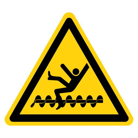 Warning Exposed Rotating Parts Will Cause Service Injury Or Death Symbol, Vector Illustration, Isolate On White Background Label.