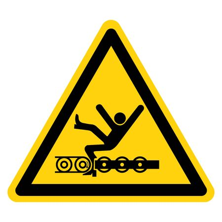 Warning Exposed Conveyor And Moving Parts Will Cause Service Injury Or Death Symbol, Vector Illustration, Isolate On White Background Label. Ilustração