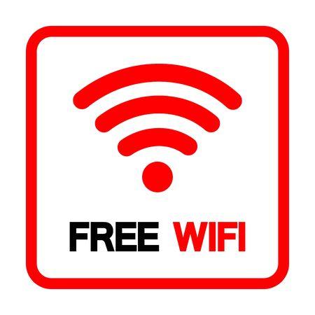 Free WiFi Symbol Sign, Vector Illustration, Isolate On White Background Label Illusztráció