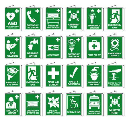 Ensemble de signe de symbole de collection de condition de sécurité, illustration de vecteur, d'isolement sur l'étiquette de fond blanc