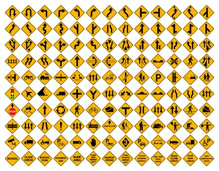 Warning Traffic Sign Set, Vector Illustration, Isolated On White Background Label .