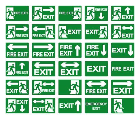 Conjunto de señal de símbolo de salida y salida de incendios, ilustración vectorial, aislar en etiqueta de fondo blanco. EPS10 Ilustración de vector