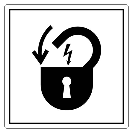 Lock Out Electrical Power Symbol Sign, Vector Illustration, Isolate On White Background Label Ilustração