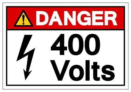 Danger 400 Volts Symbol Sign, Vector Illustration, Isolate On White Background Label . Çizim