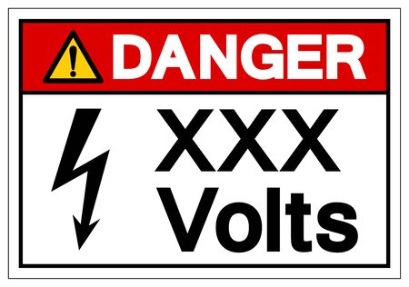 Danger XXX Volts Symbol Sign, Vector Illustration, Isolate On White Background Label .