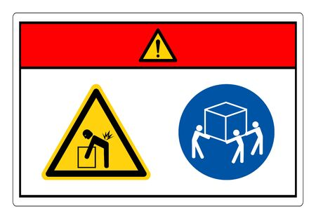 Danger Lift Hazard Use Three Person Lift Symbol Sign, Vector Illustration, Isolate On White Background Label. Çizim