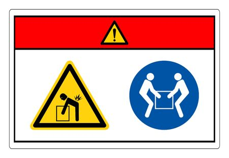 Danger Lift Hazard Use Two Person Lift Symbol Sign, Vector Illustration, Isolate On White Background Label. EPS10