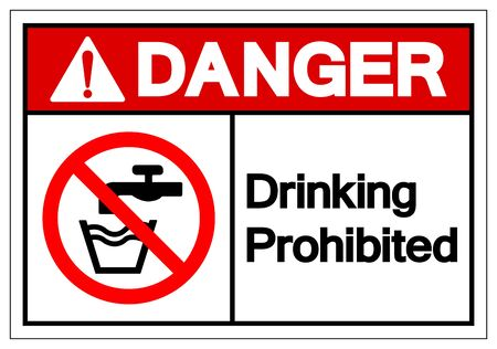 Danger Drinking Prohibited Symbol Sign, Vector Illustration, Isolate On White Background Label