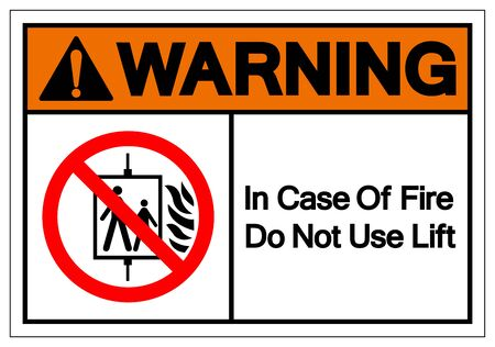 Warning In Case Of Fire Do Not Use Lift Symbol Sign, Vector Illustration, Isolate On White Background Label