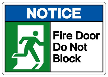 Fire Door Do Not Block Symbol Sign, Vector Illustration, Isolate On White Background Label.