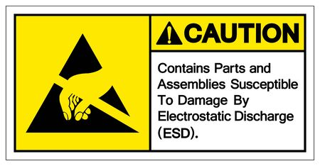 Caution Contains Parts and Assemblies SusceptibleTo Damage By Electrostatic Discharge (ESD). Symbol Sign, Vector Illustration, Isolated On White Background Label