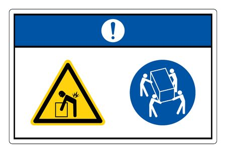 Notice Lift Hazard Use Four Person Lift Symbol Sign, Vector Illustration, Isolate On White Background Label.