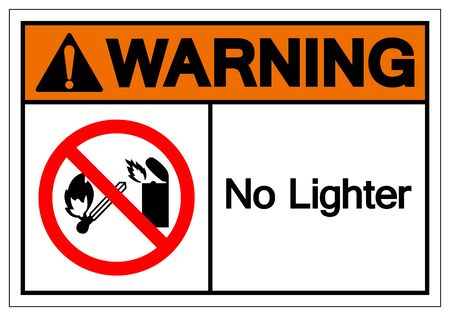 Warning No Lighter Symbol Sign, Vector Illustration, Isolate On White Background Label.