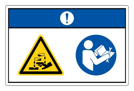Notice Chemical Hazard Read Technical Manual Before Servicing Symbol Sign, Vector Illustration, Isolate On White Background Label. EPS10  向量圖像