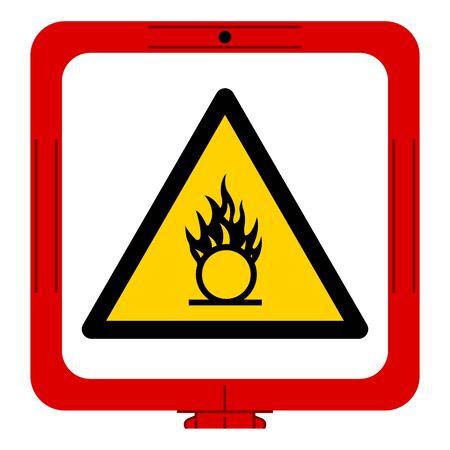 Warning Oxidizing Substance Symbol ,Vector Illustration, Isolate On White Background Label. EPS10 Vectores
