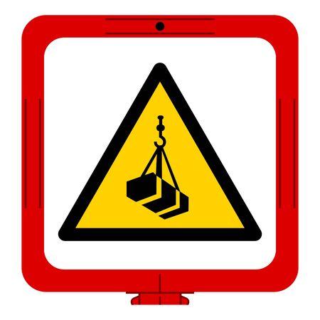 Warning Overhead Load Symbol, Vector Illustration, Isolated On White Background Label. EPS10