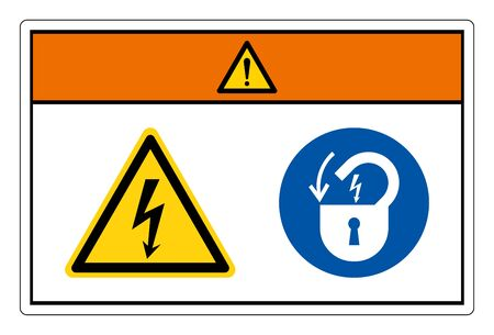 Warning Hazardous Voltage Lock Out Electrical Power Symbol Sign, Vector Illustration, Isolate On White Background Label. EPS10