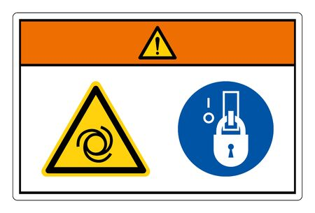 Warning Equipment Starts Automatically Lock Out In De-Energized State Symbol Sign, Vector Illustration, Isolate On White Background Label. EPS10