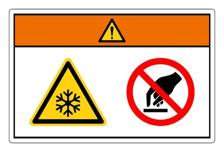 Warning Extremely Cold Surface Do Not Touch Symbol Sign, Vector Illustration, Isolate On White Background Label. EPS10