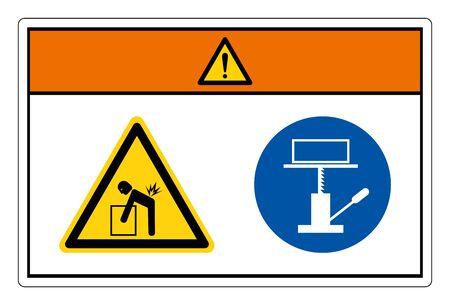 Warning Lift Hazard Use Mechanical Lift Symbol Sign, Vector Illustration, Isolate On White Background Label. EPS10 Vetores
