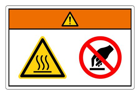 Warning Hot Surface Do Not Touch Symbol Sign, Vector Illustration, Isolate On White Background Label. EPS10