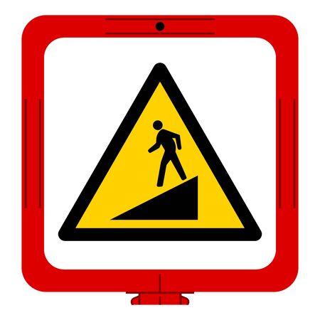 Warning Slope Symbol Sign,Vector Illustration, Isolate On White Background Label. EPS10