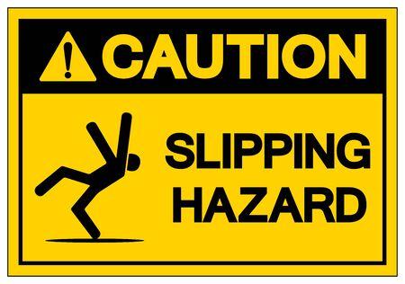 Attention, symbole de danger de glissade, illustration vectorielle, étiquette isolée sur fond blanc. EPS10