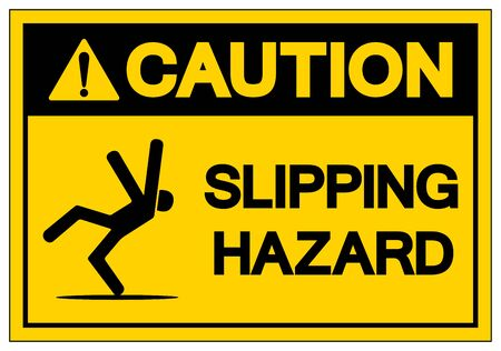 Caution Slipping Hazard Symbol, Vector  Illustration, Isolated On White Background Label. EPS10  向量圖像