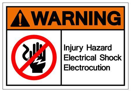 Warning Injury Hazard Electrical Shock Electrocution Symbol Sign, Vector Illustration, Isolate On White Background Label