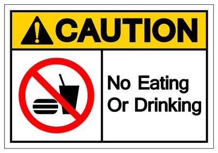 Caution No Eating Or Drinking Symbol Sign, Vector Illustration, Isolate On White Background Label
