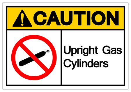 Caution Upright Gas Cylinders Symbol Sign, Vector Illustration, Isolate On White Background Label.
