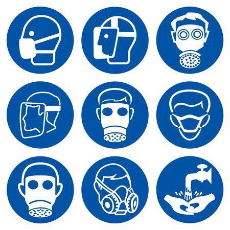 Ensemble de signe de symbole de visage protecteur obligatoire d'EPI, illustration vectorielle, isolé sur étiquette de fond blanc. EPS10