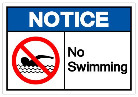 Notice No Swimming Symbol Sign, Vector Illustration, Isolate On White Background Label.