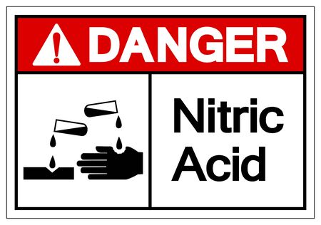 Danger Nitric Acid Symbol Sign, Vector Illustration, Isolate On White Background Label.