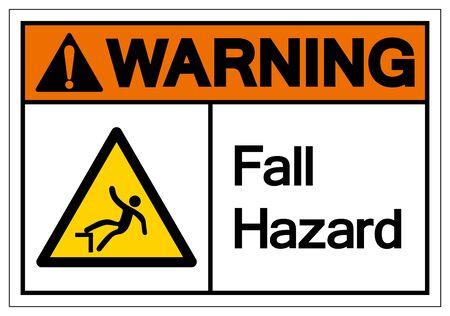 Warning Fall Hazard Symbol, Vector Illustration, Isolate On White Background Label. Illusztráció